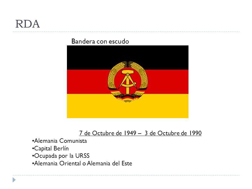 RDA Bandera con escudo 7 de Octubre de 1949 – 3 de Octubre de 1990