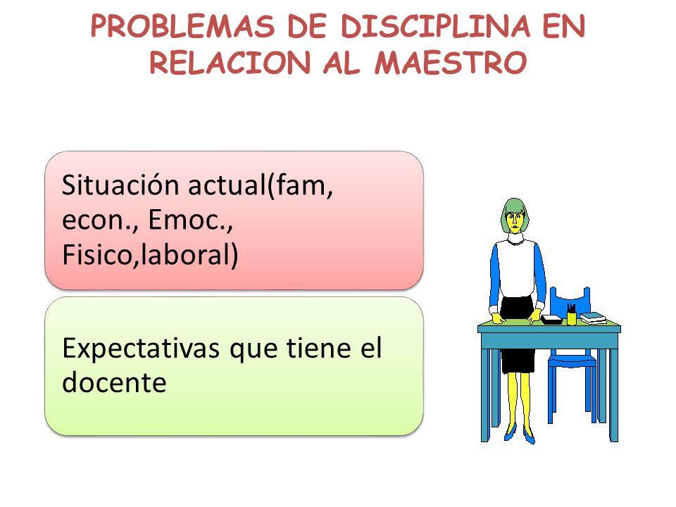 PROBLEMAS DE DISCIPLINA EN RELACION AL MAESTRO