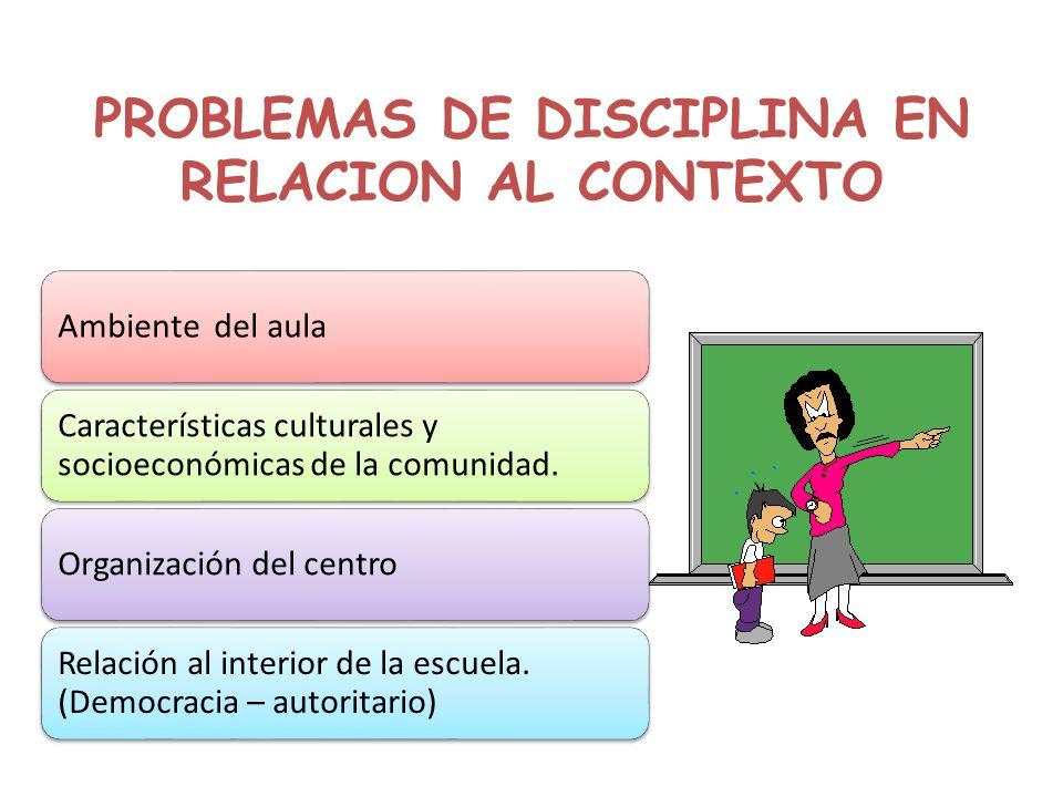PROBLEMAS DE DISCIPLINA EN RELACION AL CONTEXTO