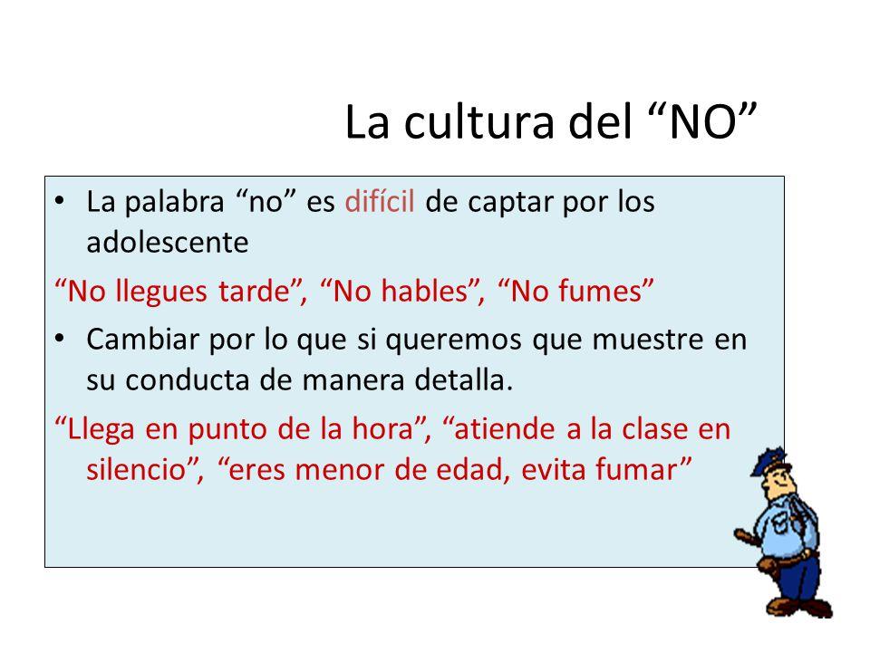 La cultura del NO La palabra no es difícil de captar por los adolescente. No llegues tarde , No hables , No fumes