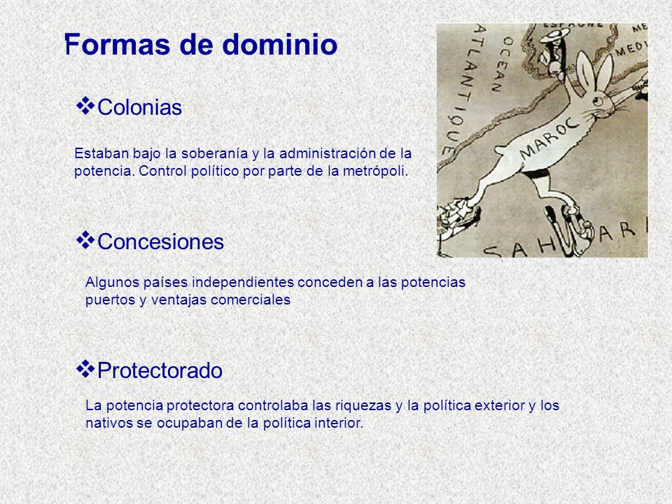 Formas de dominio Colonias Concesiones Protectorado