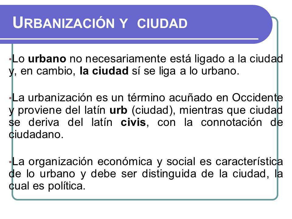 Urbanización y ciudad Lo urbano no necesariamente está ligado a la ciudad y, en cambio, la ciudad sí se liga a lo urbano.