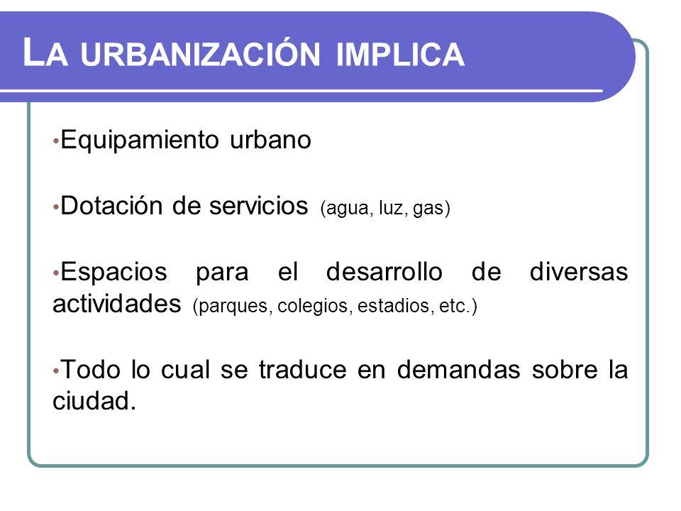 La urbanización implica