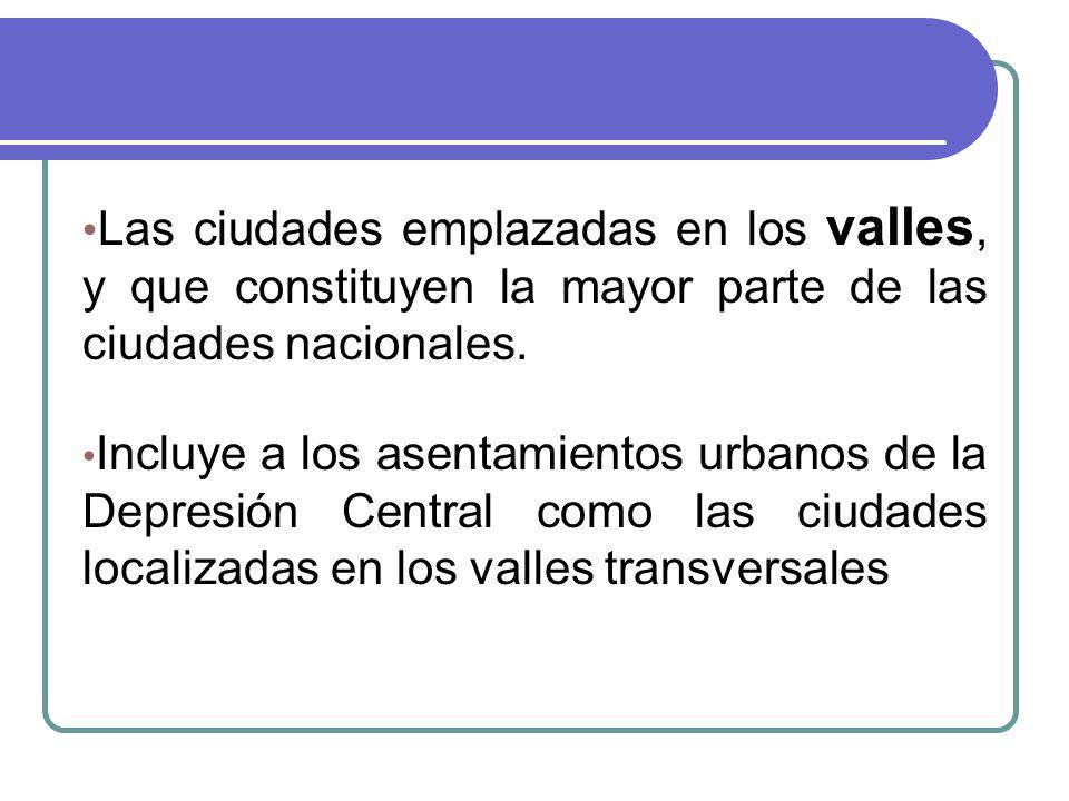 Las ciudades emplazadas en los valles, y que constituyen la mayor parte de las ciudades nacionales.