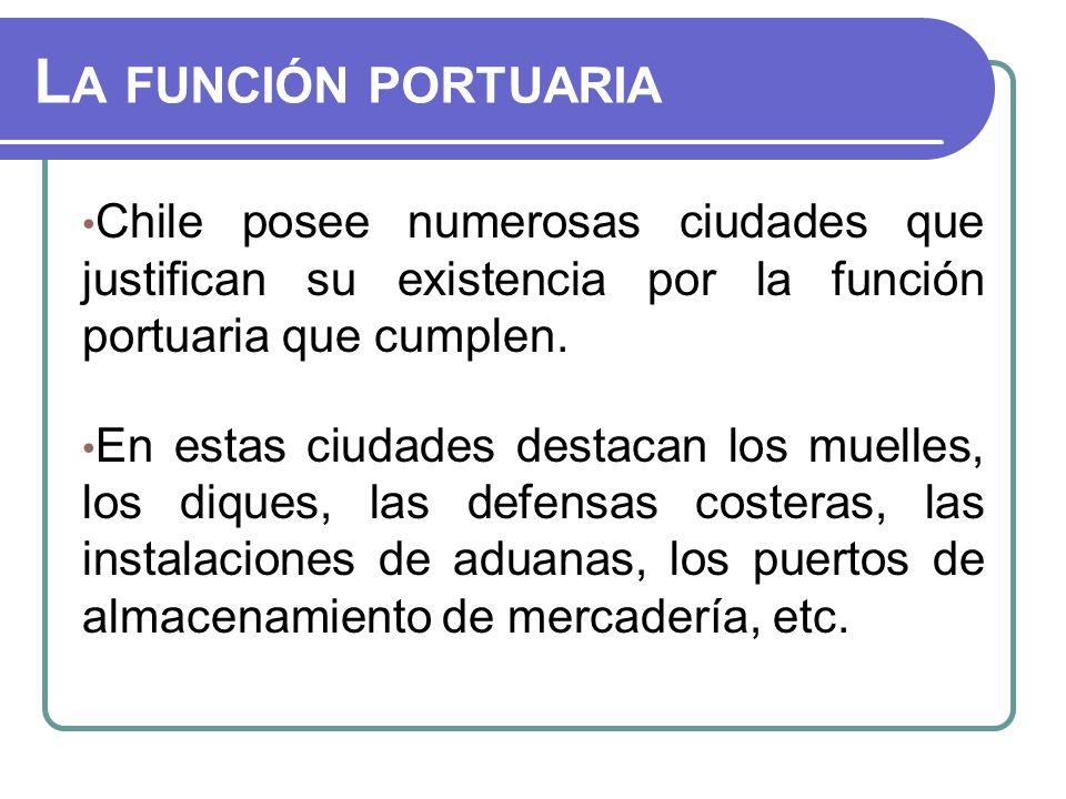 La función portuaria Chile posee numerosas ciudades que justifican su existencia por la función portuaria que cumplen.
