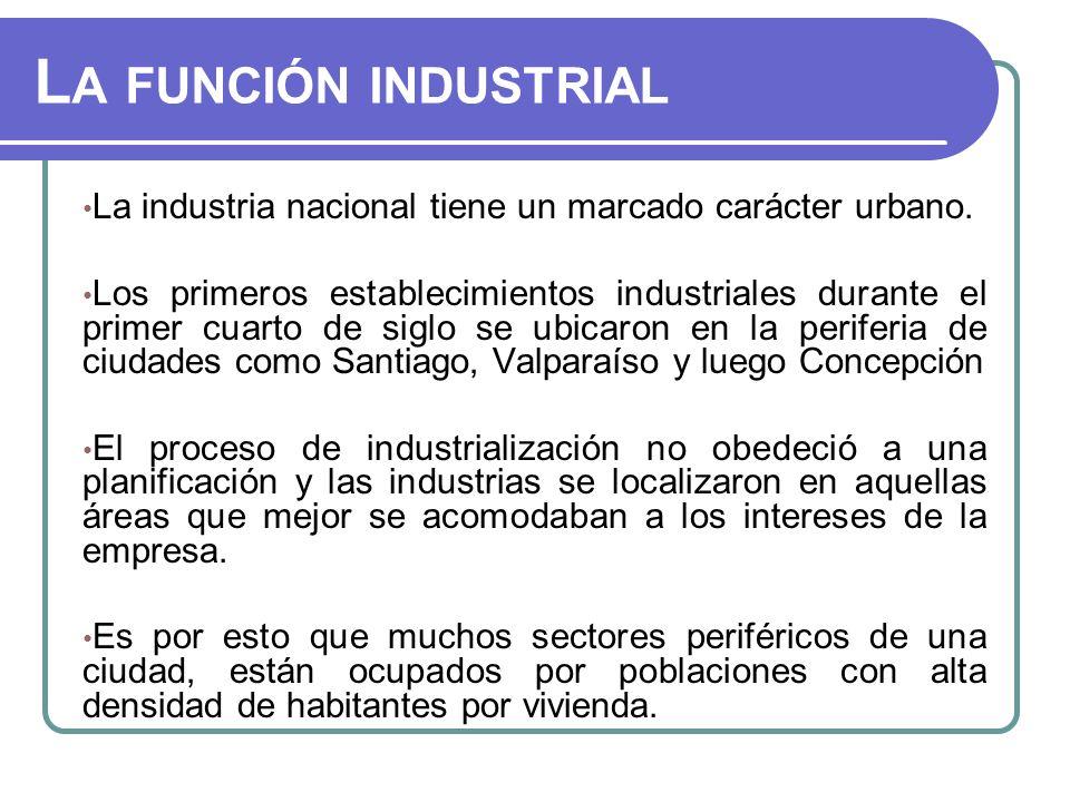 La función industrial La industria nacional tiene un marcado carácter urbano.