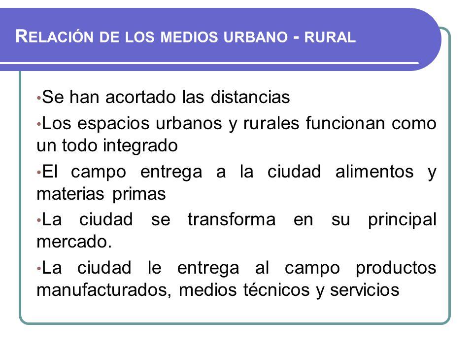 Relación de los medios urbano - rural
