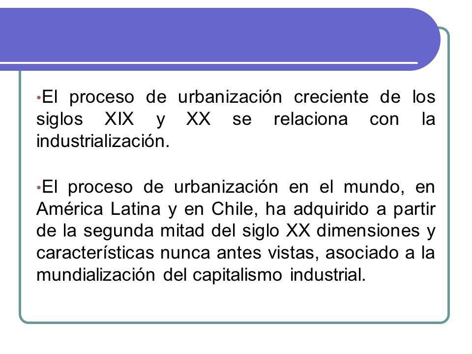 El proceso de urbanización creciente de los siglos XIX y XX se relaciona con la industrialización.