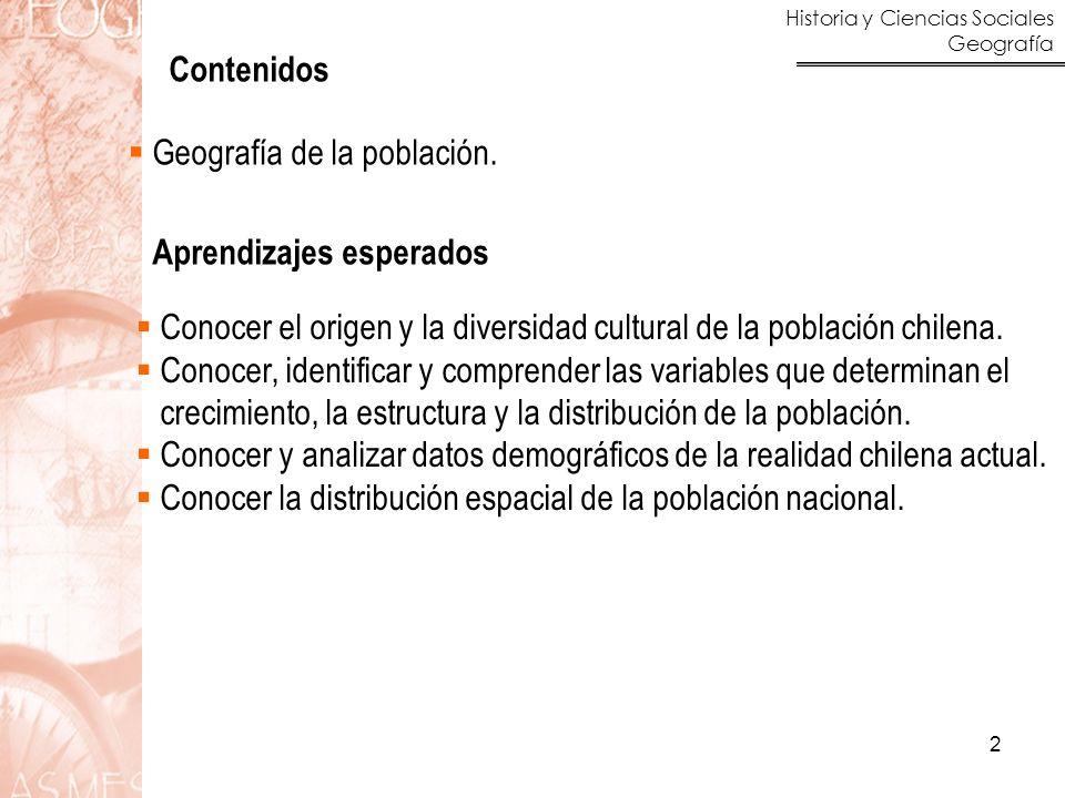 Contenidos Geografía de la población. Aprendizajes esperados. Conocer el origen y la diversidad cultural de la población chilena.