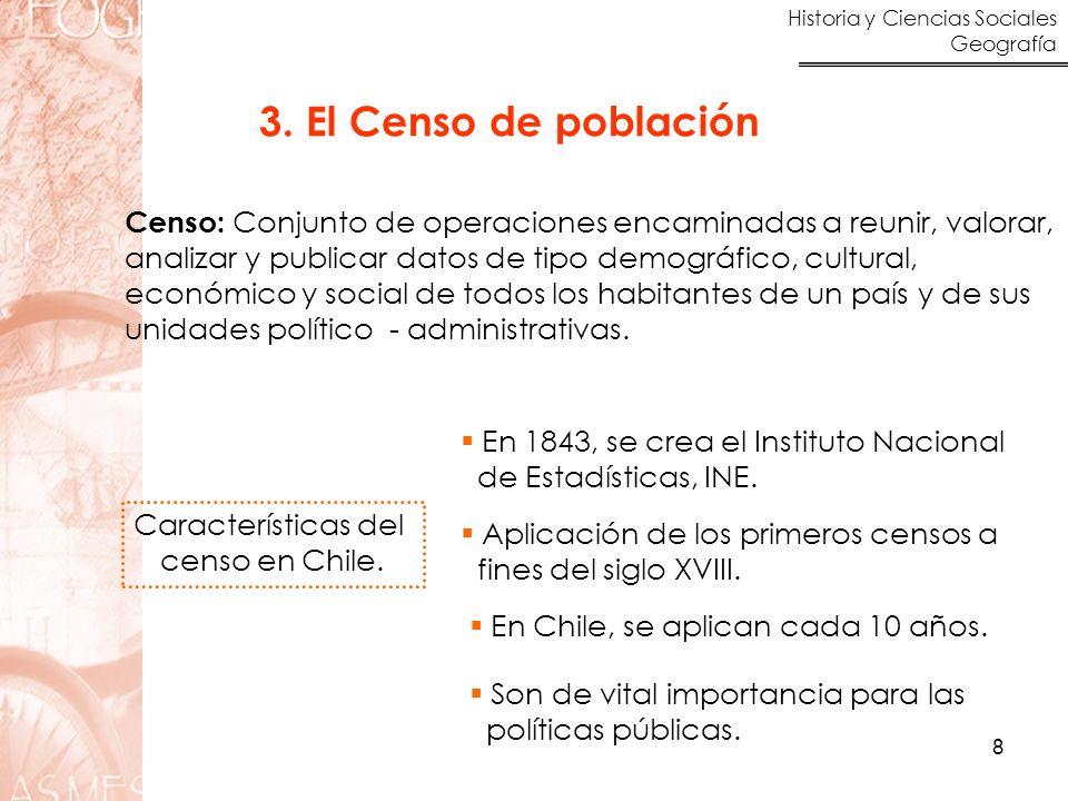 3. El Censo de población Censo: Conjunto de operaciones encaminadas a reunir, valorar, analizar y publicar datos de tipo demográfico, cultural,