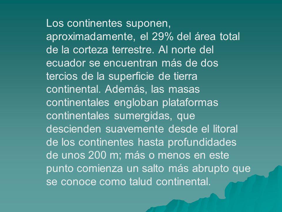 Los continentes suponen, aproximadamente, el 29% del área total de la corteza terrestre.