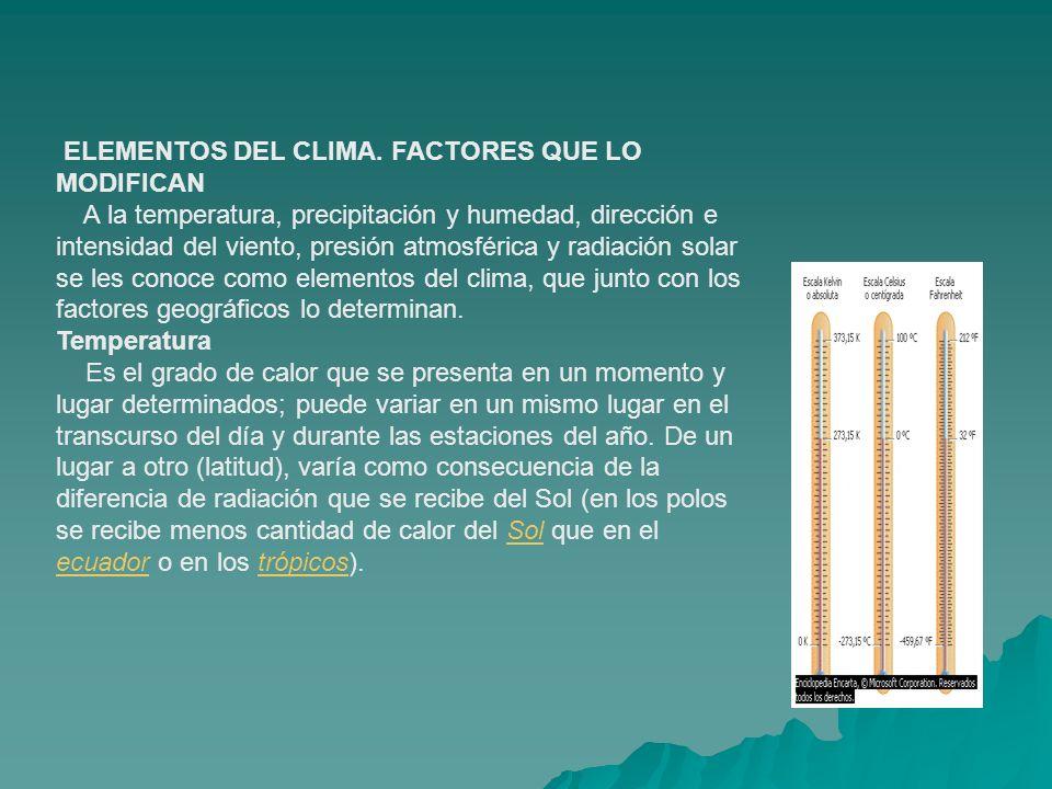 ELEMENTOS DEL CLIMA. FACTORES QUE LO MODIFICAN