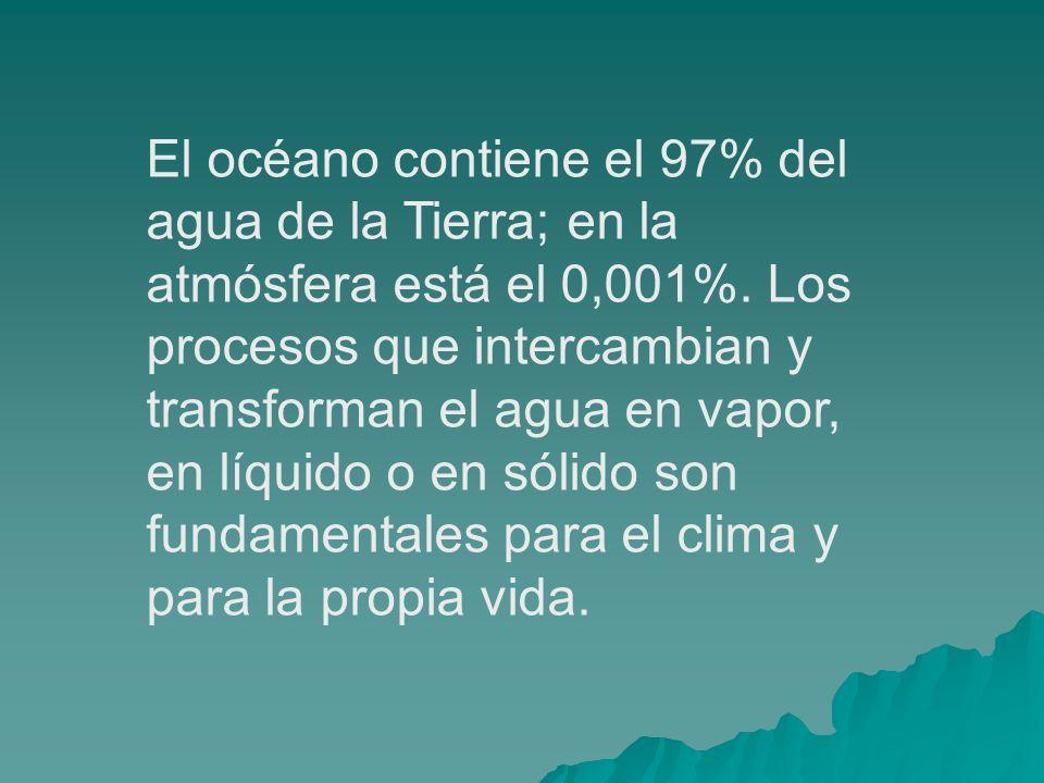 El océano contiene el 97% del agua de la Tierra; en la atmósfera está el 0,001%.