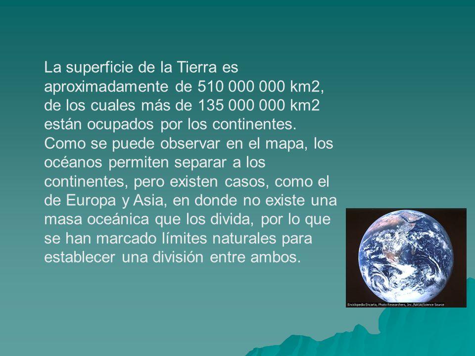 La superficie de la Tierra es aproximadamente de 510 000 000 km2, de los cuales más de 135 000 000 km2 están ocupados por los continentes.