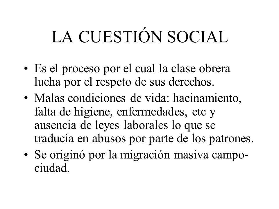 LA CUESTIÓN SOCIAL Es el proceso por el cual la clase obrera lucha por el respeto de sus derechos.