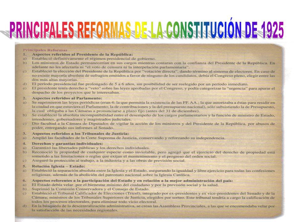 PRINCIPALES REFORMAS DE LA CONSTITUCIÓN DE 1925
