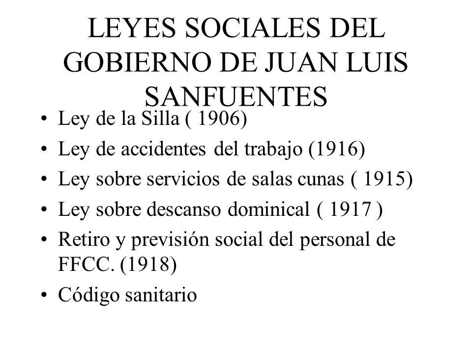 LEYES SOCIALES DEL GOBIERNO DE JUAN LUIS SANFUENTES