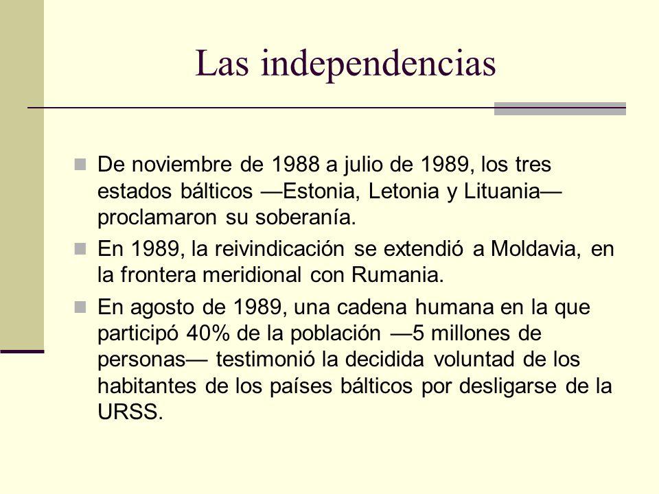 Las independencias De noviembre de 1988 a julio de 1989, los tres estados bálticos —Estonia, Letonia y Lituania— proclamaron su soberanía.