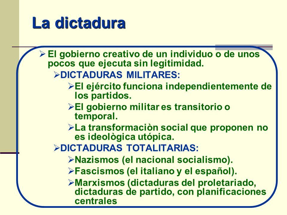 La dictaduraEl gobierno creativo de un individuo o de unos pocos que ejecuta sin legitimidad. DICTADURAS MILITARES: