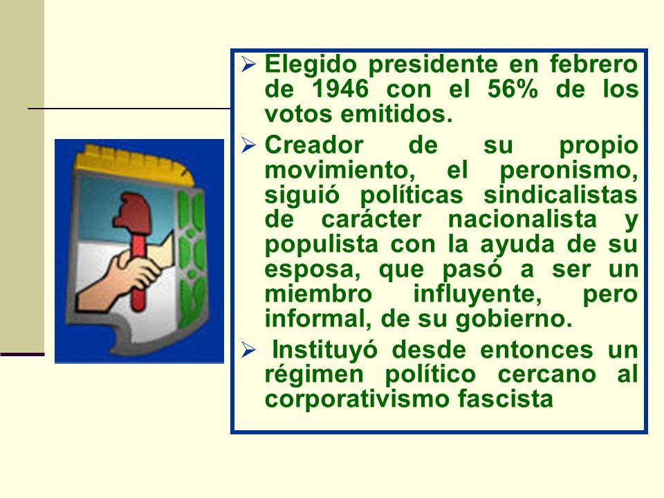 Elegido presidente en febrero de 1946 con el 56% de los votos emitidos.