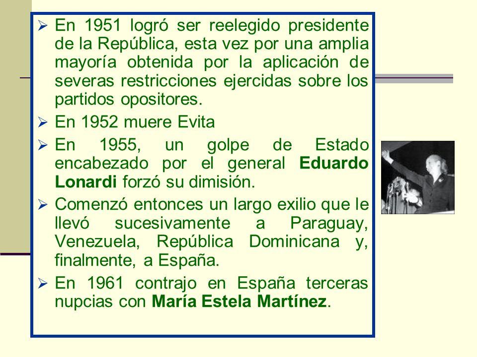 En 1951 logró ser reelegido presidente de la República, esta vez por una amplia mayoría obtenida por la aplicación de severas restricciones ejercidas sobre los partidos opositores.