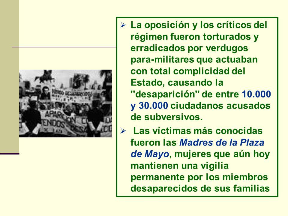 La oposición y los críticos del régimen fueron torturados y erradicados por verdugos para-militares que actuaban con total complicidad del Estado, causando la desaparición de entre 10.000 y 30.000 ciudadanos acusados de subversivos.