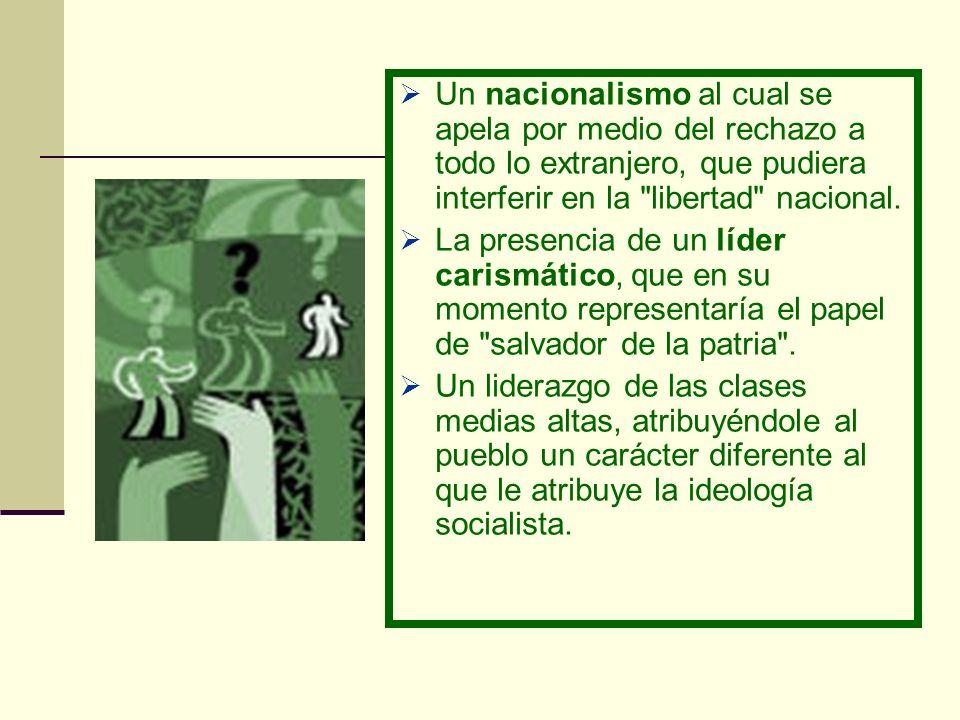 Un nacionalismo al cual se apela por medio del rechazo a todo lo extranjero, que pudiera interferir en la libertad nacional.