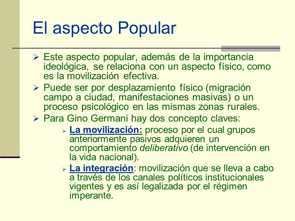 El aspecto PopularEste aspecto popular, además de la importancia ideológica, se relaciona con un aspecto físico, como es la movilización efectiva.