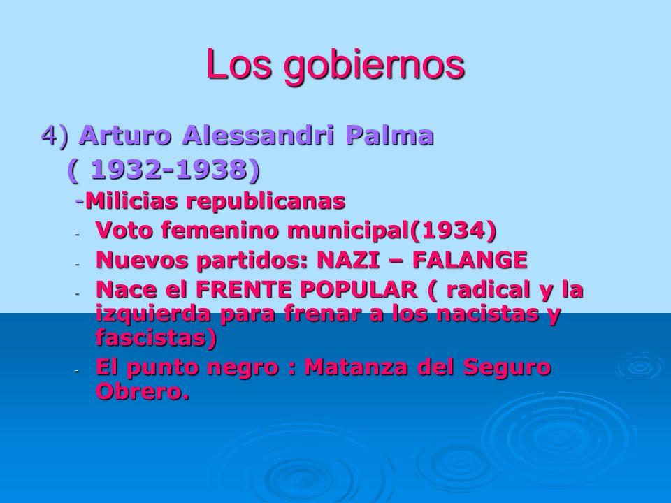 Los gobiernos 4) Arturo Alessandri Palma ( 1932-1938)