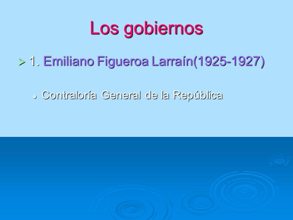 Los gobiernos 1. Emiliano Figueroa Larraín(1925-1927)