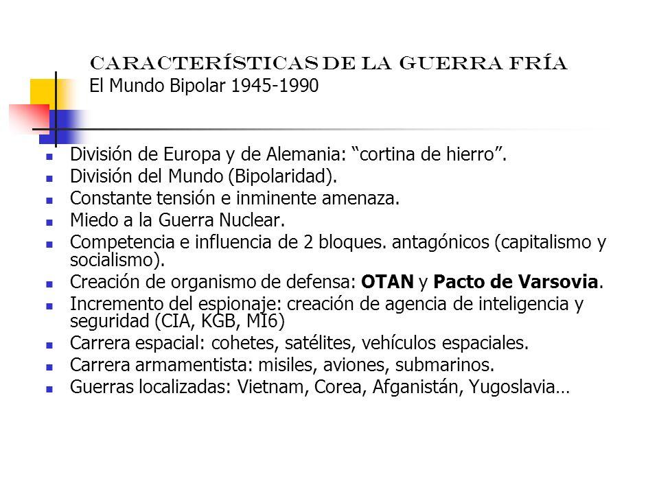 Características de la Guerra Fría El Mundo Bipolar 1945-1990