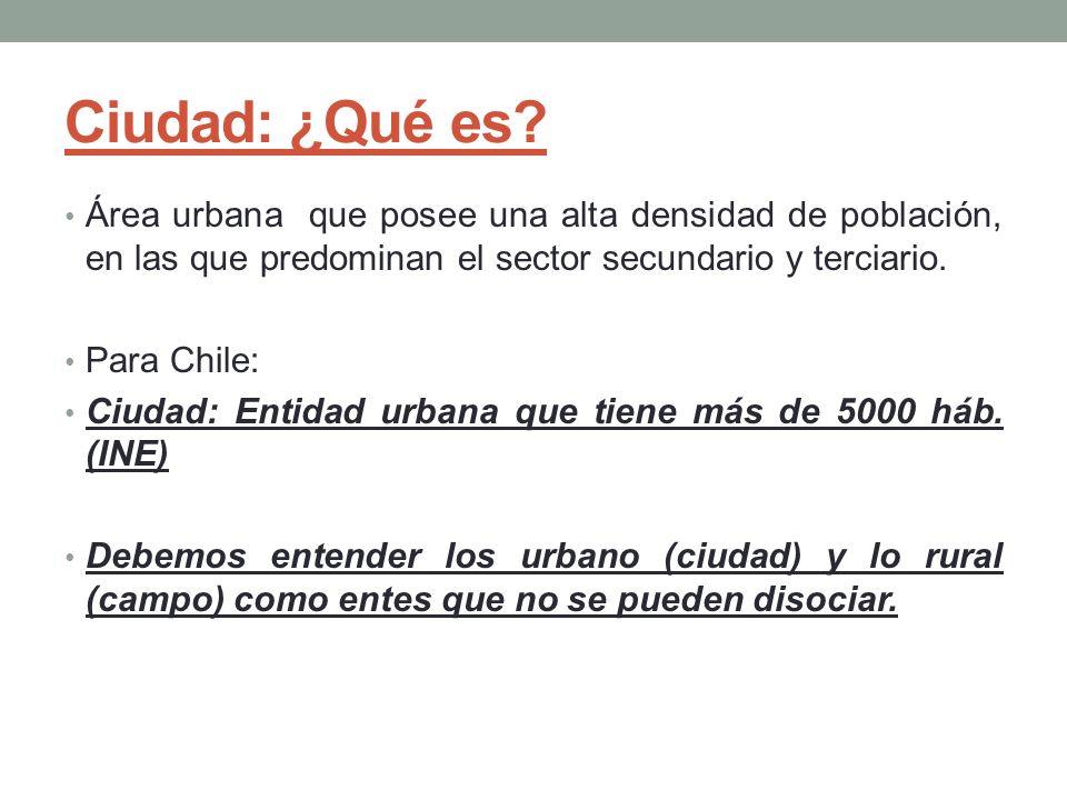 Ciudad: ¿Qué es Área urbana que posee una alta densidad de población, en las que predominan el sector secundario y terciario.