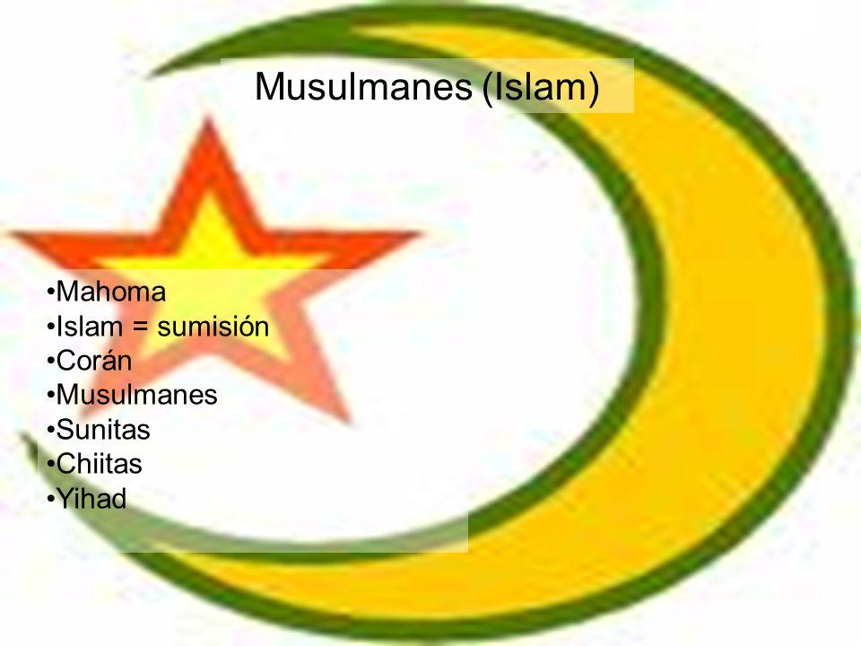 Musulmanes (Islam) Mahoma Islam = sumisión Corán Musulmanes Sunitas