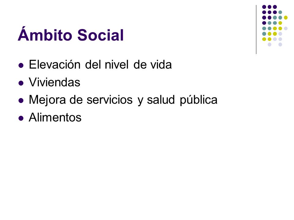 Ámbito Social Elevación del nivel de vida Viviendas