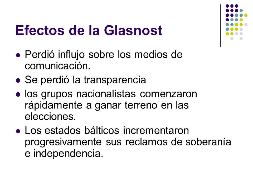 Efectos de la Glasnost Perdió influjo sobre los medios de comunicación. Se perdió la transparencia.