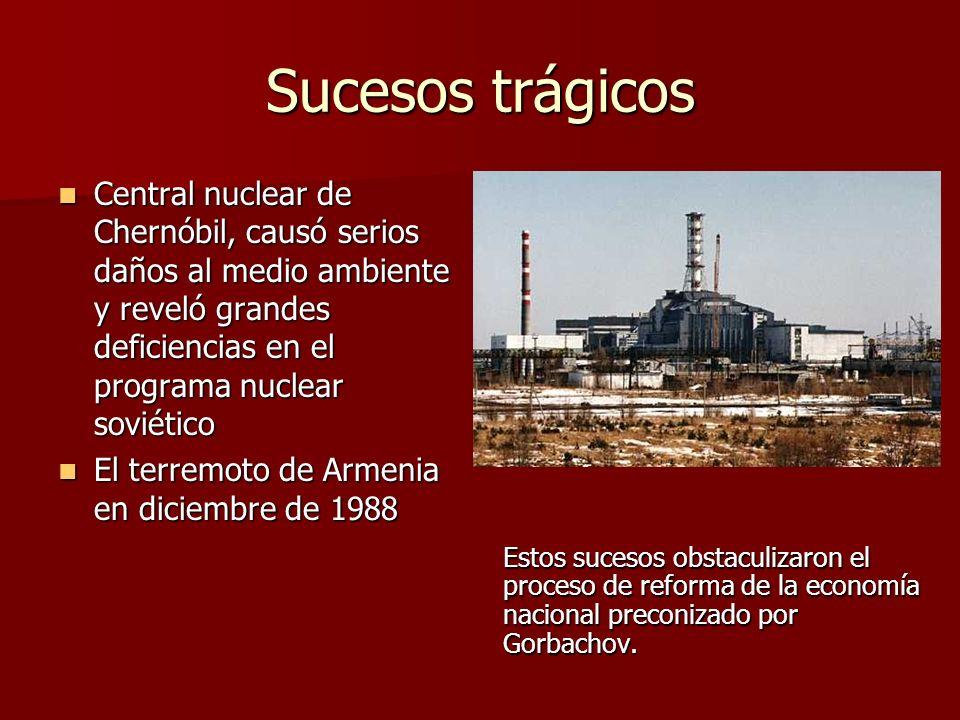 Sucesos trágicos Central nuclear de Chernóbil, causó serios daños al medio ambiente y reveló grandes deficiencias en el programa nuclear soviético.