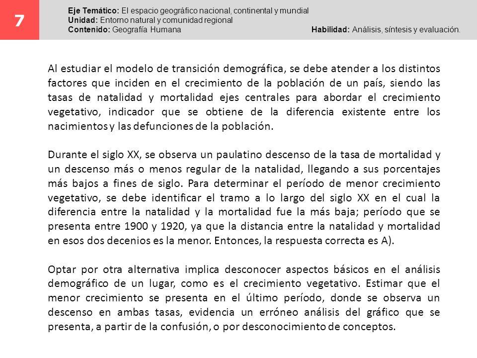 7 Eje Temático: El espacio geográfico nacional, continental y mundial. Unidad: Entorno natural y comunidad regional.