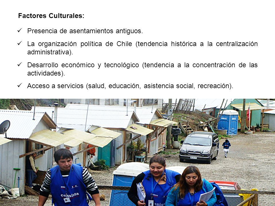 Factores Culturales: Presencia de asentamientos antiguos.