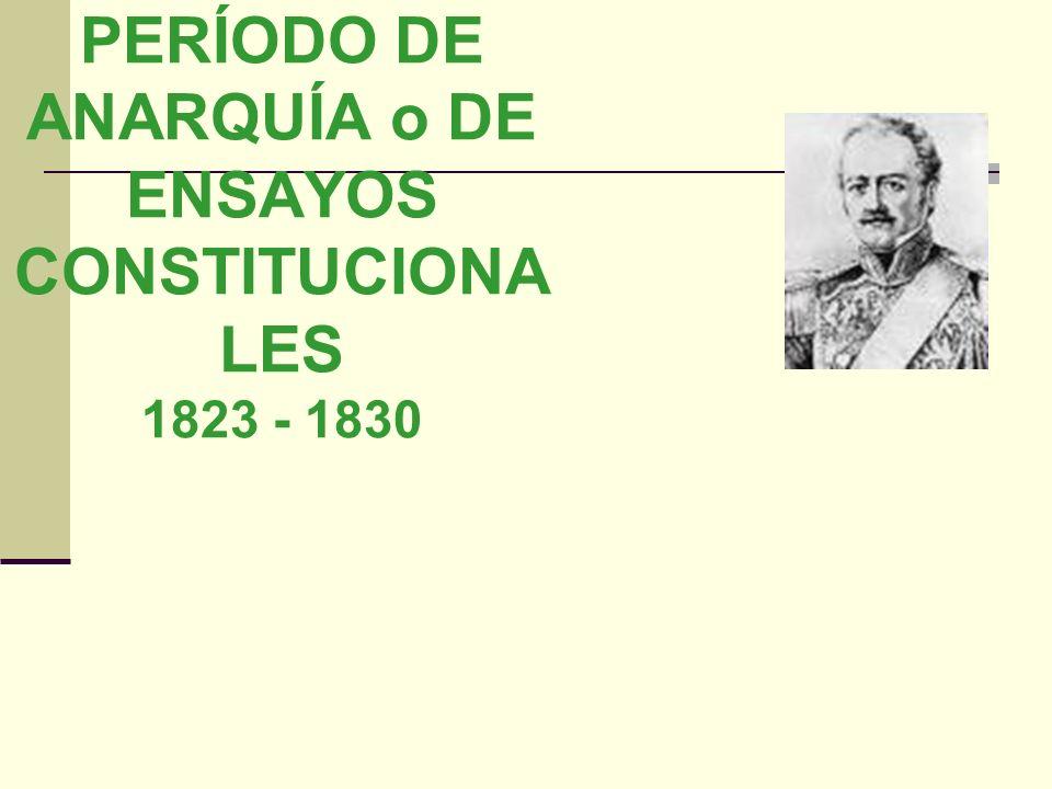 PERÍODO DE ANARQUÍA o DE ENSAYOS CONSTITUCIONALES 1823 - 1830