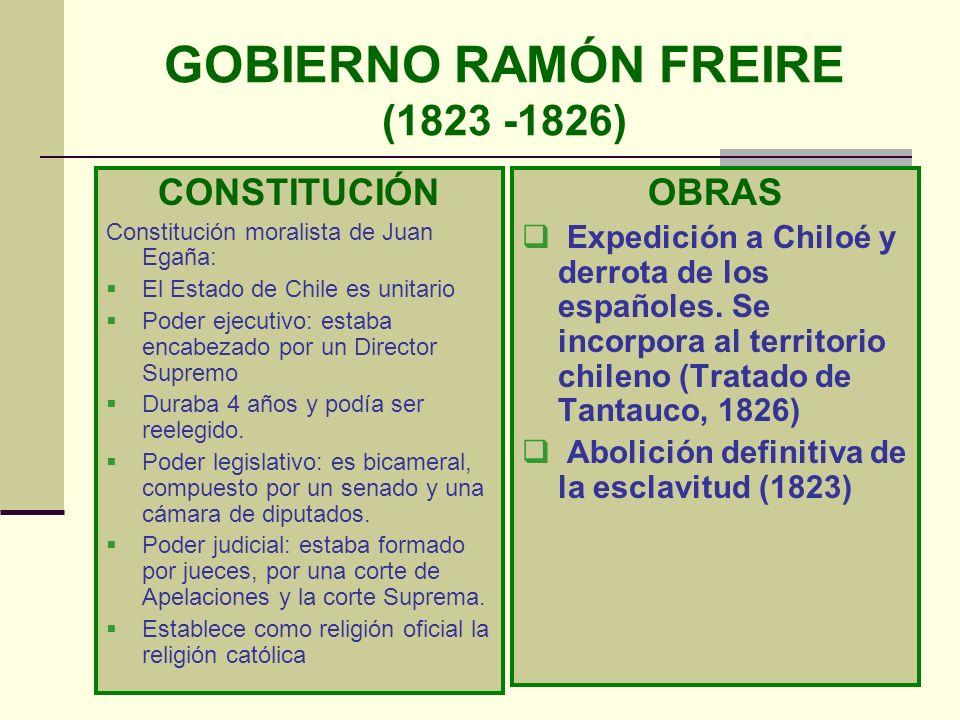 GOBIERNO RAMÓN FREIRE (1823 -1826)