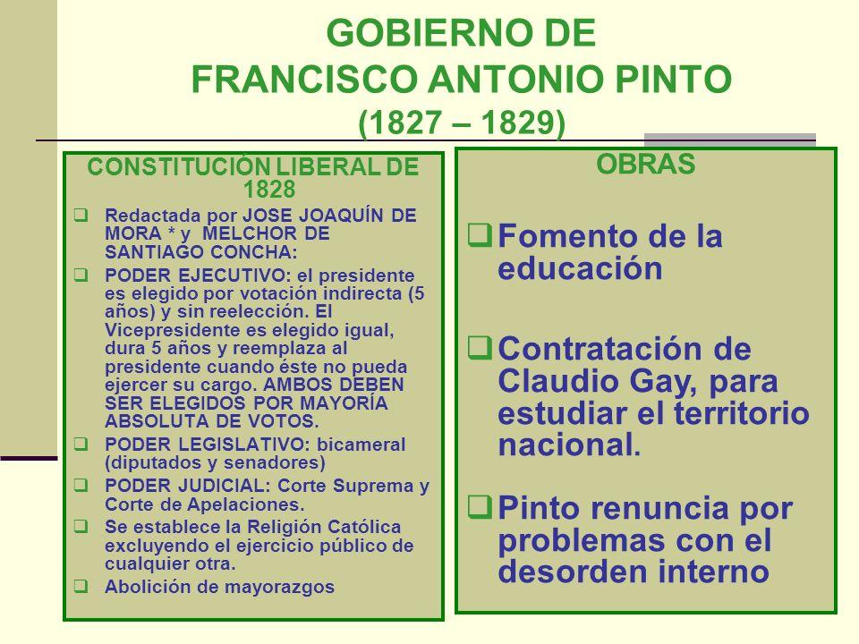 GOBIERNO DE FRANCISCO ANTONIO PINTO (1827 – 1829)