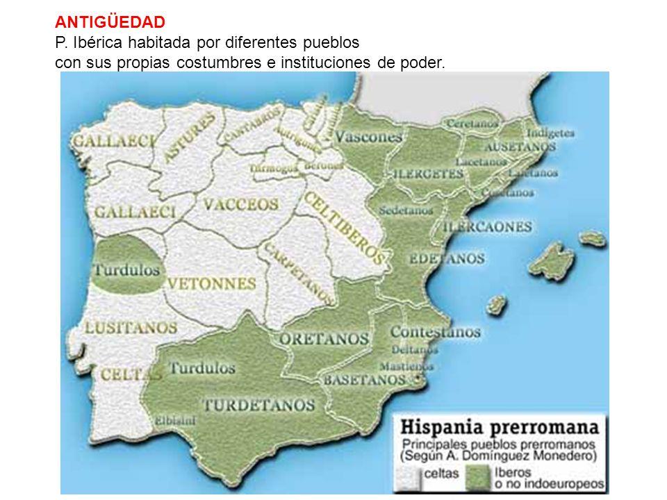 ANTIGÜEDAD P. Ibérica habitada por diferentes pueblos.