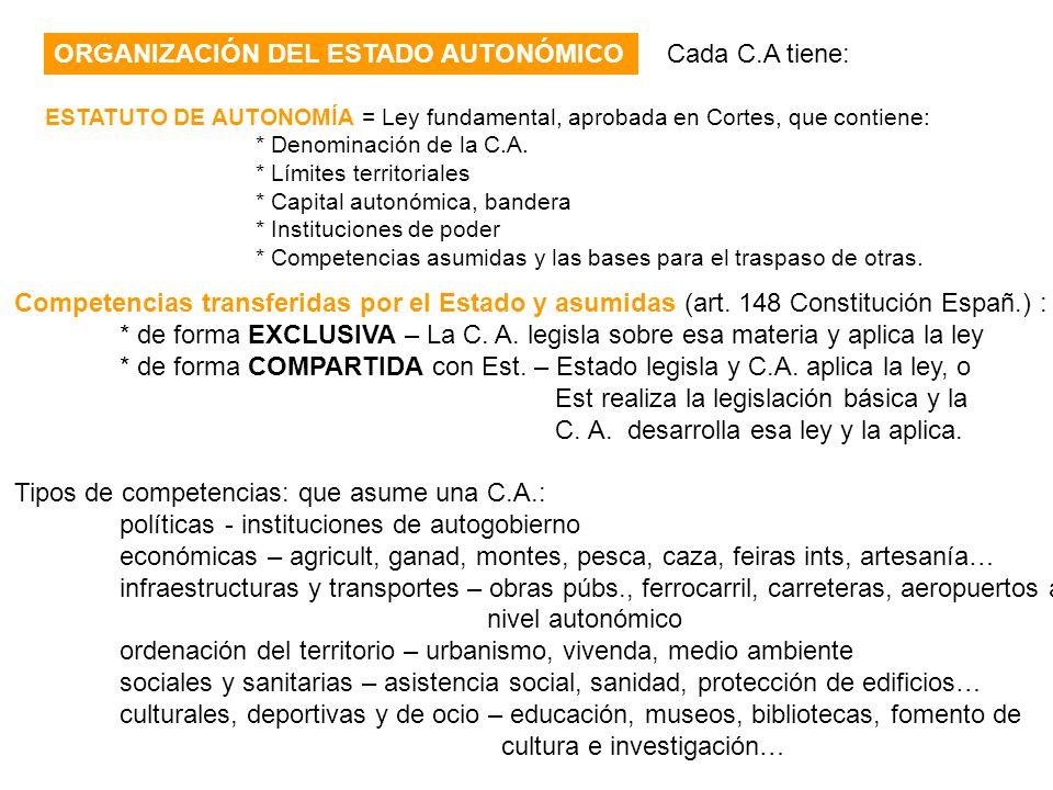 ORGANIZACIÓN DEL ESTADO AUTONÓMICO Cada C.A tiene: