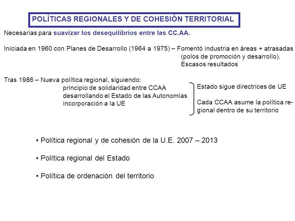 POLÍTICAS REGIONALES Y DE COHESIÓN TERRITORIAL