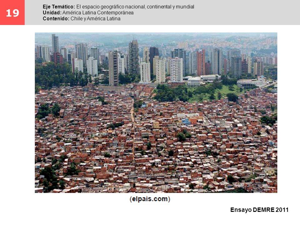 19 Eje Temático: El espacio geográfico nacional, continental y mundial. Unidad: América Latina Contemporánea.