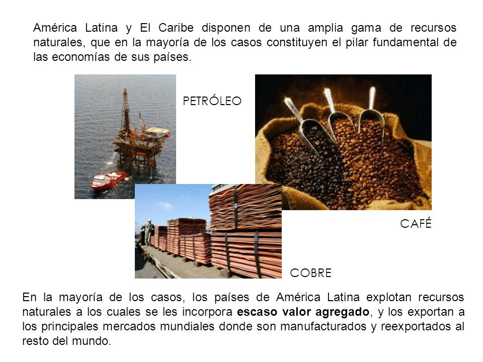 América Latina y El Caribe disponen de una amplia gama de recursos naturales, que en la mayoría de los casos constituyen el pilar fundamental de las economías de sus países.