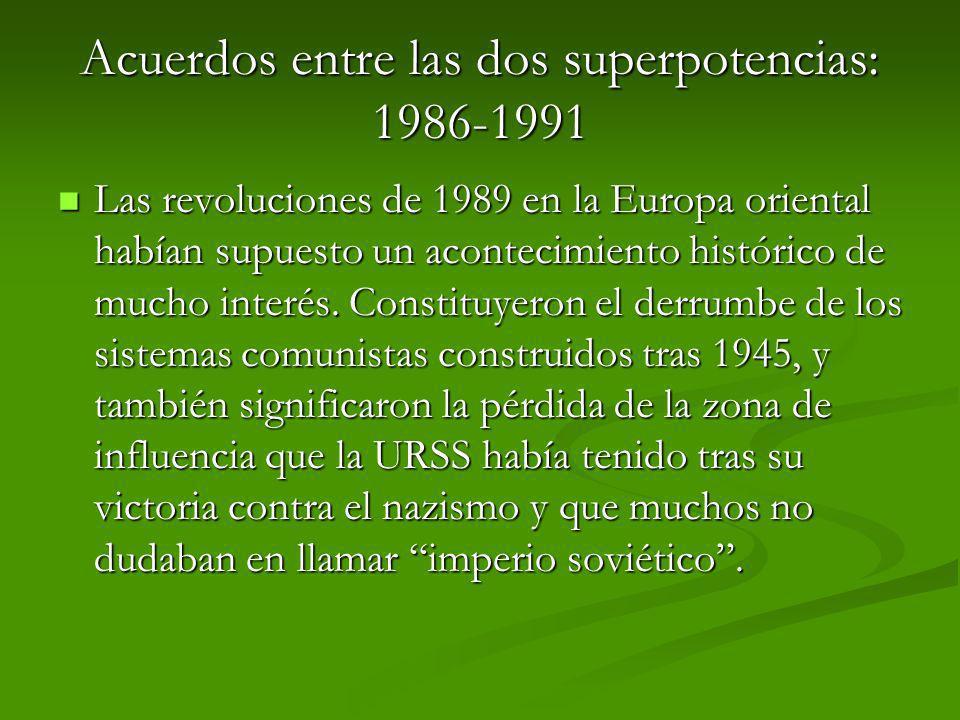 Acuerdos entre las dos superpotencias: 1986-1991
