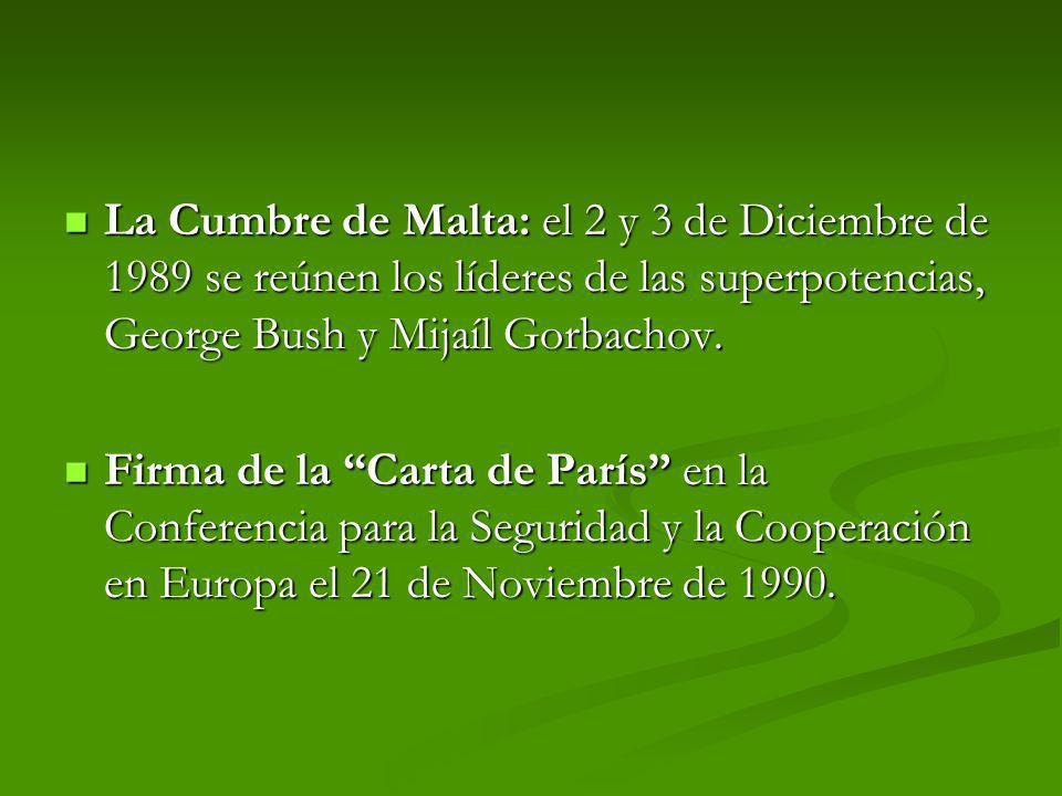 La Cumbre de Malta: el 2 y 3 de Diciembre de 1989 se reúnen los líderes de las superpotencias, George Bush y Mijaíl Gorbachov.