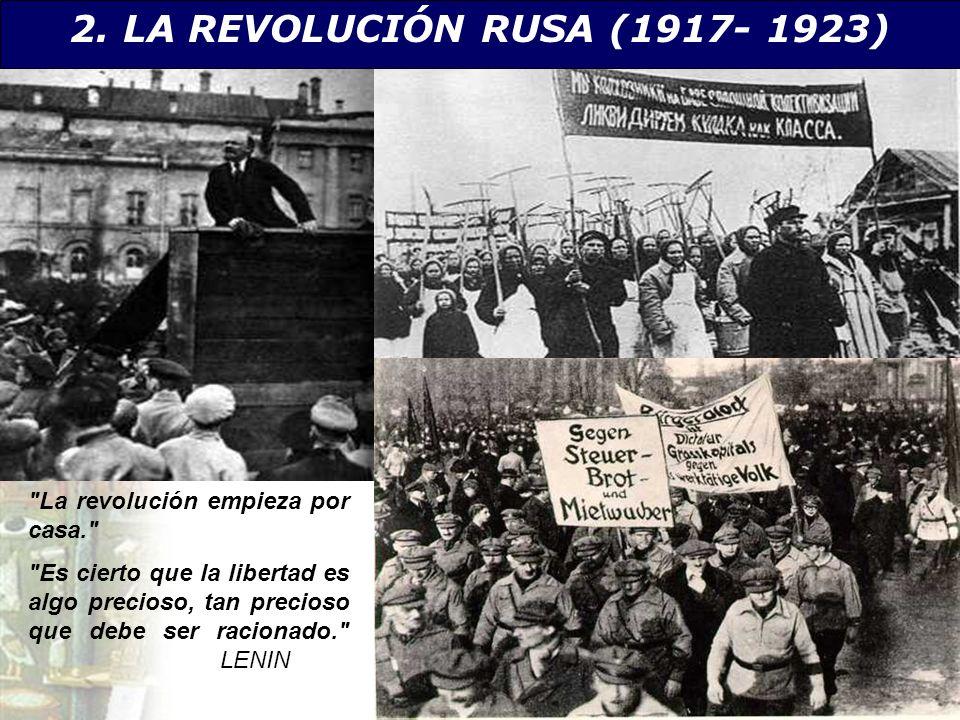 2. LA REVOLUCIÓN RUSA (1917- 1923) La revolución empieza por casa.