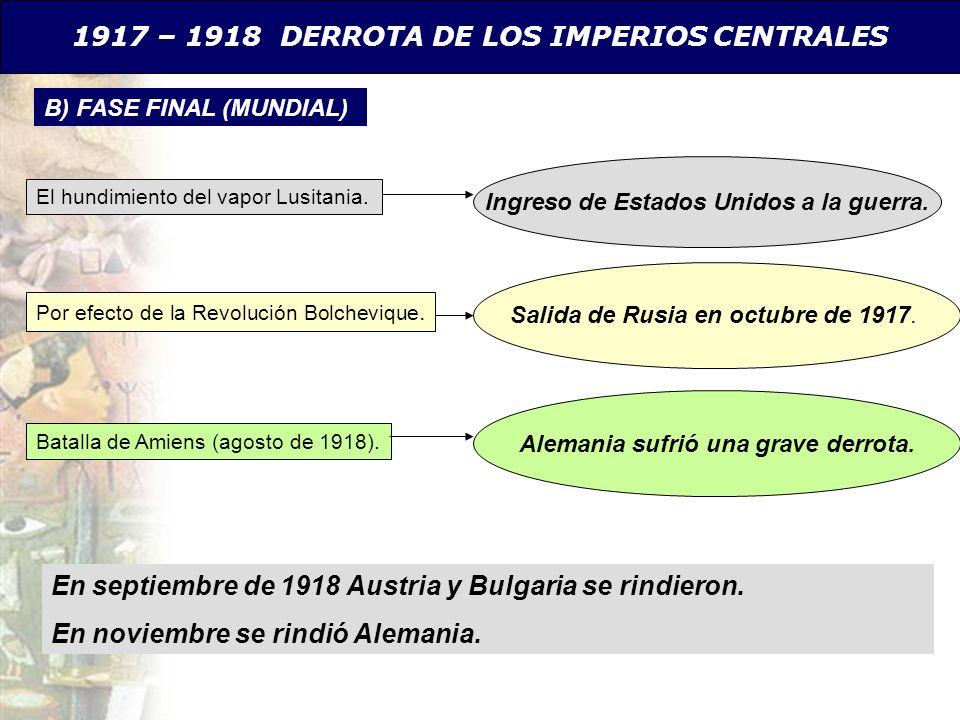 1917 – 1918 DERROTA DE LOS IMPERIOS CENTRALES